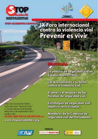 Cartel del IX Foro Internacional contra la Violencia Vial.